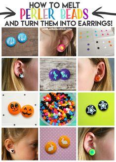 perler beads into earrings! Melt perler beads into earrings! - A girl and a glue gunMelt perler beads into earrings! - A girl and a glue gun Seed Bead Tutorials, Beading Tutorials, Beading Patterns, Perler Earrings, Bead Earrings, Earrings Online, Diy Earrings Studs, Silver Earrings, Melted Pony Beads