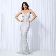 fff22cb946 Goal Digger Silver Sequin Fishtail Maxi Dress. Fashion Genie Boutique
