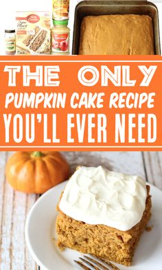 Pumpkin Cake Recipes - Easy 5 Ingredient Homemade Pumpkin Spice Dessert! This EASY, cozy, sweet treat is a Fall must-have, and outrageously delicious topped with cream cheese frosting! Go grab the recipe and give it a try this week! Pumpkin Cake Recipes, Cake Mix Cookie Recipes, Easy Cake Recipes, Dessert Recipes, Easy Pumpkin Cake, Pumpkin Dishes, Pumpkin Ideas, Fall Recipes, Thanksgiving Desserts Easy