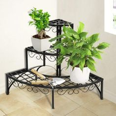 Iron Plant Stand Shelf 3 Tier Garden Patio Indoor Corner Outdoor Storage Round in Garden & Patio, Pots/ Window Boxes/ Baskets, Other Pots/ Boxes/ Baskets Balcony Plants, Indoor Plants, Balcony Garden, House Plants, Outdoor Shelves, Outdoor Storage, Corner Plant, Modern Plant Stand, Wrought Iron Decor