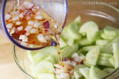 Sweet and Spicy Cucumber Slices | Our Best Bites--gonna try with red cabbage too.