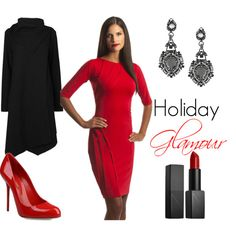 The Holidays call for a glamorous red dress and fabulous red heels. Create that holiday look with Perlae Couture's Red Cocktail Dress with Elbow Length Sleeves. Pair it with pumps from Sergio Rossi and lips to match. Add some black drop earrings and a Waterfall coat from John Lewis to stay warm as you move from party to party. Simply stunning. #reddress #holidaystyle #fallfashion
