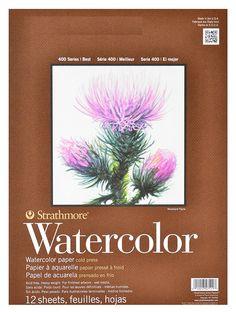 Strathmore watercolor papier. Zeer goede kwaliteit aquarelpapier. Zware kwaliteit, 300 grams.  Geschikt voor nat techniek zoals aquarel, inkt etc. Per blok 12 vel. Maat 14x21cm.