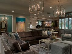 dark brown and teal, a little glam, echoing colors on other side of room. another lighter rug. Noticing a pattern.