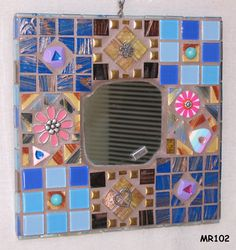 FOR SALE!!!  Pretty Retro in Blue Handmade Mosaic Wall Mirror Look Great on your Wall