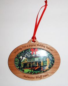 Wood ornament with photo-insert.