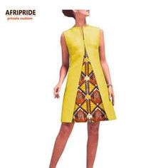 2019 spring A-line dress for women AFRIPRIDE sleeveless o-neck above-knee length cotton women dress African Dresses For Kids, Latest African Fashion Dresses, Modest Dresses, Stylish Dresses, African Traditional Wedding Dress, Official Dresses, New Designer Dresses, Ankara Dress Styles, Classy Dress