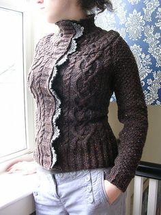 Truffle Cardigan Tutorial by Megan Rogers #cables #knitting #crochet trim