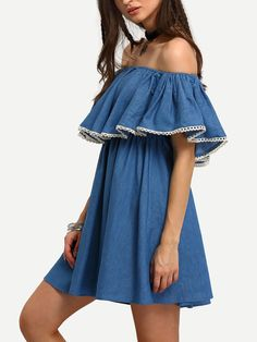 #AdoreWe #SheIn Dresses - SheIn Demin Blue Off The Shoulder Ruffle Swing Dress - AdoreWe.com
