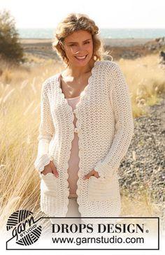 """Crochet DROPS jacket in """"Safran"""". Size: S - XXXL ~ DROPS Design. Free pattern."""