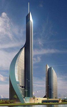 Dubai Towers Jeda h Unusual Buildings, Amazing Buildings, Modern Buildings, Dubai Architecture, Beautiful Architecture, Art And Architecture, Voyage Dubai, In Dubai, Future Buildings