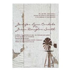 Rustic Country Windmill Wedding Invitations