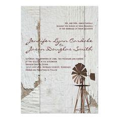 Rustic Country Windmill Wedding Invitations