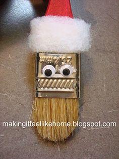 Santa paintbrush ornanment