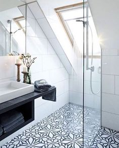 We are absolutely loving these patterned tiles! If you are renovating a small space, patterned floor tiles are a perfect way to add character with neutral walls.  #bathroomrenovations #homeimprovement #inspiration #bathroom #bathroominspo #home #homedecor #homerenovation #renovate #homerenovationideas