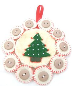 How to make Tree Ornament - Felt & Buttons Tree - DIY Craft Project from Craftbits.com