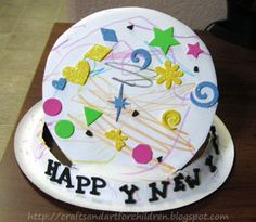 Year's Crafts for Kids Paper Plate New Year's Hat CraftPaper Plate New Year's Hat Craft Daycare Crafts, Toddler Crafts, Preschool Crafts, Crafts For Kids, Preschool Ideas, Craft Ideas, Daycare Ideas, Preschool Lessons, New Year's Eve Crafts