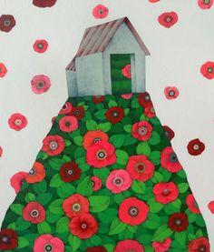 나쁜꽃밭 Bad a Flower Garden House Illustration, Naive Art, Yearning, Acrylic Art, Holiday Decor, Creative, Flowers, Painting, Color