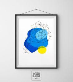 Light Blue and Yellow Abstract Geometric Art Print  www.vfitzartist.com.au