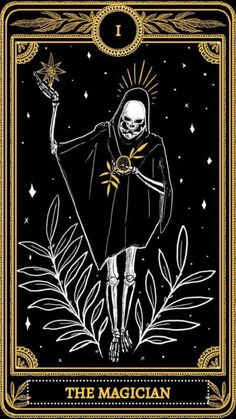 The Magician from the Major Arcana of the Marigold Tarot Magician Art, The Magician Tarot, Dibujos Dark, Witchy Wallpaper, Skeleton Art, Witch Aesthetic, Major Arcana, Art Hoe, Tarot Decks