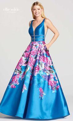 7f6b7640a6b ELLIE WILDE FLOOR-LENGTH MIKADO V-NECK BACK ZIP Prom Dresses 2018