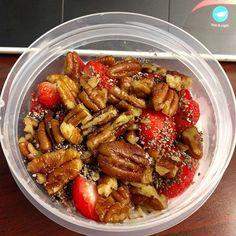 Strawberries, pecans, cottage cheese, and chia seeds. #keto #lowcarb #lchf #foodblogger #atkins #diet #weightloss #eatfatlosefat #iifym #iifymgirls #paleo #primal