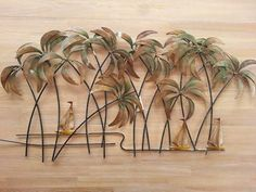 Palm Tree Metal Wall Art 24in hand crafted metal palm tree wall art | tropical wall decor