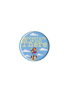 """<p>Small pinback button from Disney's <i>Up</i> with a colorful """"Adventure Is Out There"""" design.</p>  <ul> <li>1 1/4"""" diameter</li> <li>Made in USA</li> </ul>"""