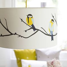 Blue Tit Lampshade juneberry and bird lampshade by lorna syson Painting Lamp Shades, Painting Lamps, Table Lamps For Bedroom, Living Room Decor, Dining Room, Quilling, Lampshade Designs, Colourful Living Room, Blue Tit