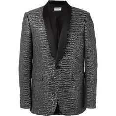 Saint Laurent 'Iconic Le Smoking 70's' jacket ($4,490) ❤ liked on Polyvore featuring men's fashion, men's clothing, men's outerwear, men's jackets, black and mens sequin jacket