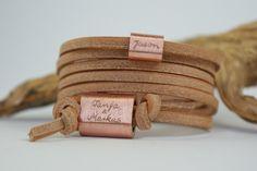 Wickelarmbänder - FOREVER ❤ Lederarmband mit Gravur Natur Kupfer - ein Designerstück von TanjaBraun bei DaWanda