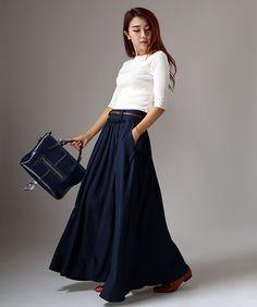 Marineblau Pleated Skirt  klassische lange Maxi voll von xiaolizi