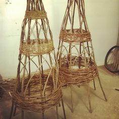 Our #handmade obelisks #weaving #willow