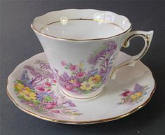 Shabby vintage duo Colclough English bone china floral pattern -gilt