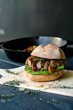 Green Bean and Sausage Sandwich with Pear Mustard and Thyme ° eat in my kitchen