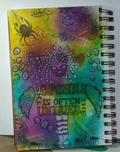 Mixed media.Art Journal page using Dyan Reaveley Dylusions Spray Inks and stamps.