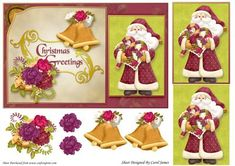 Christmas Greetings 6 on Craftsuprint designed by Carol James - A lovely card front for Christmas. Some pyramage and decoupage pieces for that 3D effect. Sentiment on card readsChristmas Greetings - Now available for download!