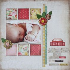 I like a lot of things about this layout: the blocks as a picture border, vertical stripes don't extend the whole page, cute accents, the journaling strips (which I need to do more), and it still leaves some white space.