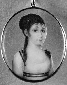 ca1819. Portrait Miniature of Princess Louisa Carlotta. Watercolor on ivory, gold, glass.