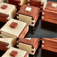 Small Wooden Boxes, Wooden Jewelry Boxes, Small Boxes, Woodworking Box, Woodworking Projects, Wood Box Design, Hamper Boxes, Wooden Containers, Box Joints