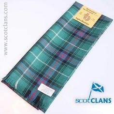 Wool tartan scarf in MacDonald of the Isles Green Tartan - available from ScotClans