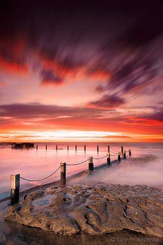 """Red Dawn"" - Sunrise at Mahon Pool, Maroubra Beach, Sydney NSW Australia"
