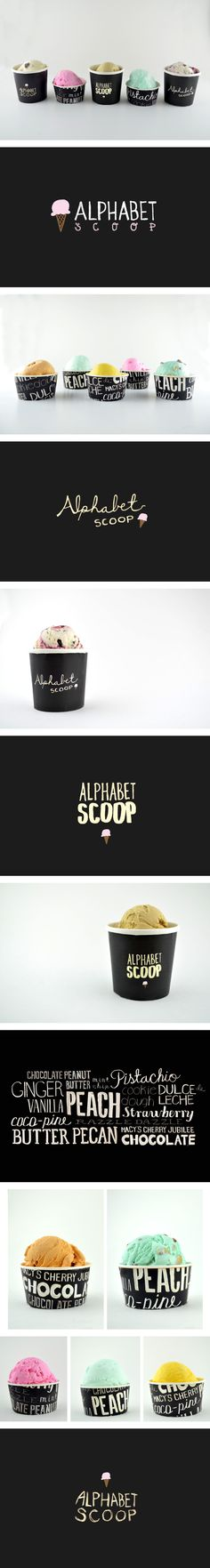 Alphabet Scoop Packaging by Rebecca Lim. I love how the words play off of alphabet soup. Very clever. And I love the idea it's for I've cream! Nice to see how the fonts actually look on the overall product. Ice Cream Packaging, Pretty Packaging, Brand Packaging, Packaging Design, Vintage Logo, Vintage Design, Creative Logo, Restaurant Branding, Identity Design