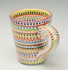 Stripes and Dots Mug Hand Painted Colorful via Etsy. Painted Coffee Mugs, Hand Painted Mugs, Hand Painted Pottery, Hand Painted Ceramics, Pottery Painting Designs, Pottery Designs, Pottery Ideas, Ceramic Plates, Ceramic Pottery