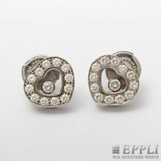 """CHOPARD noble Stud Earrings """"HAPPY DIAMONDS"""". 18K WG occupied with Diam.-Brill.  starting price € 1800,-"""