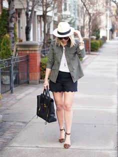Scalloped shorts with utility jacket and stripes.