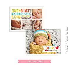 INSTANT DOWNLOAD Birth announcement template E315