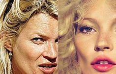 Kate Moss with and without Photoshop. She was held up as my generations ideal beauty: the waif look.