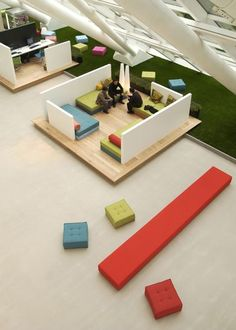 This work space is simple, colorful, and comfortable. What do you think? #interiordesign #office: