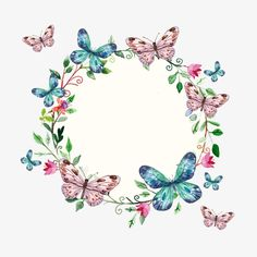 Vector butterfly garland PNG and Vector Butterfly Clip Art, Butterfly Wallpaper, Butterfly Birthday, Floral Logo, Decoupage Paper, Floral Border, Flower Backgrounds, Flower Frame, Watercolor Flowers